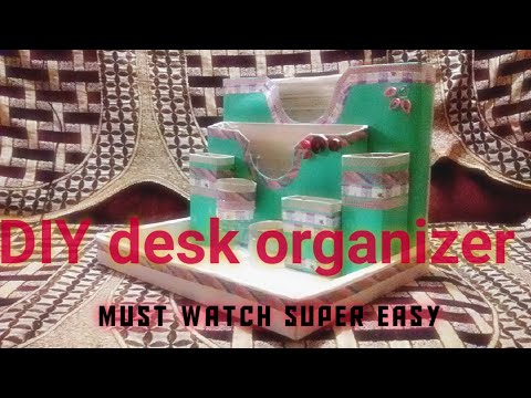 Diy desk organiser with recycled products and easy items