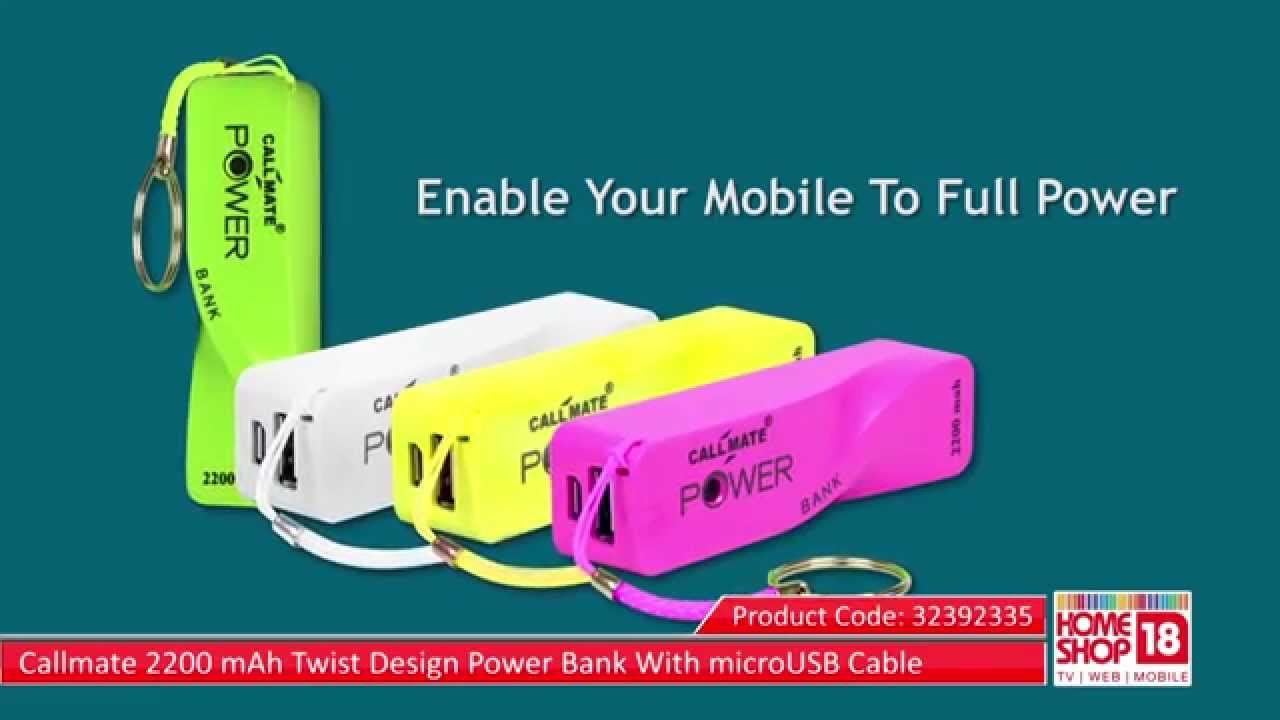 Design Bank Twist.Homeshop18 Com Callmate 2200 Mah Twist Design Power Bank With Microusb Cable
