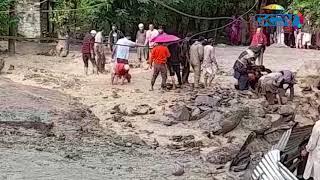 Flash-floods hit Kullan village in central Kashmir's Ganderbal, block Srinagar-Leh Highway