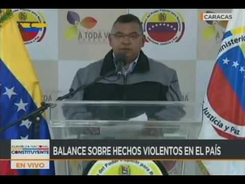 """Ministro Reverol ofrece balance de fallecidos y daños por """"Trancazo"""" convocado por la oposición"""