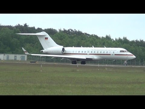 *VIP Flight* Angela Merkel at Münster/Osnabrück Airport with Bombardier BD-700-1A11 Global 5000 [HD]