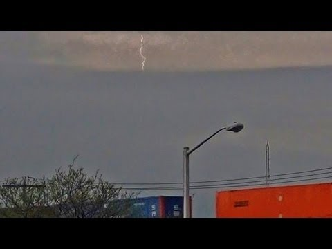 Lightning Bolt Strikes As CSX Train Goes By