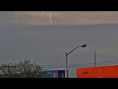 Lightning Bolt Strikes As CSX Train Goes By