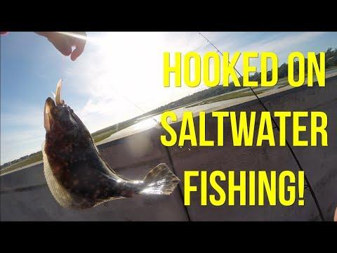 Catching Flounder At Pawleys Island Bridge, Definitely Hooked On Saltwater Fishing!