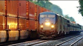 Amtrak Races Past Giant 204 Car Double Stack Train