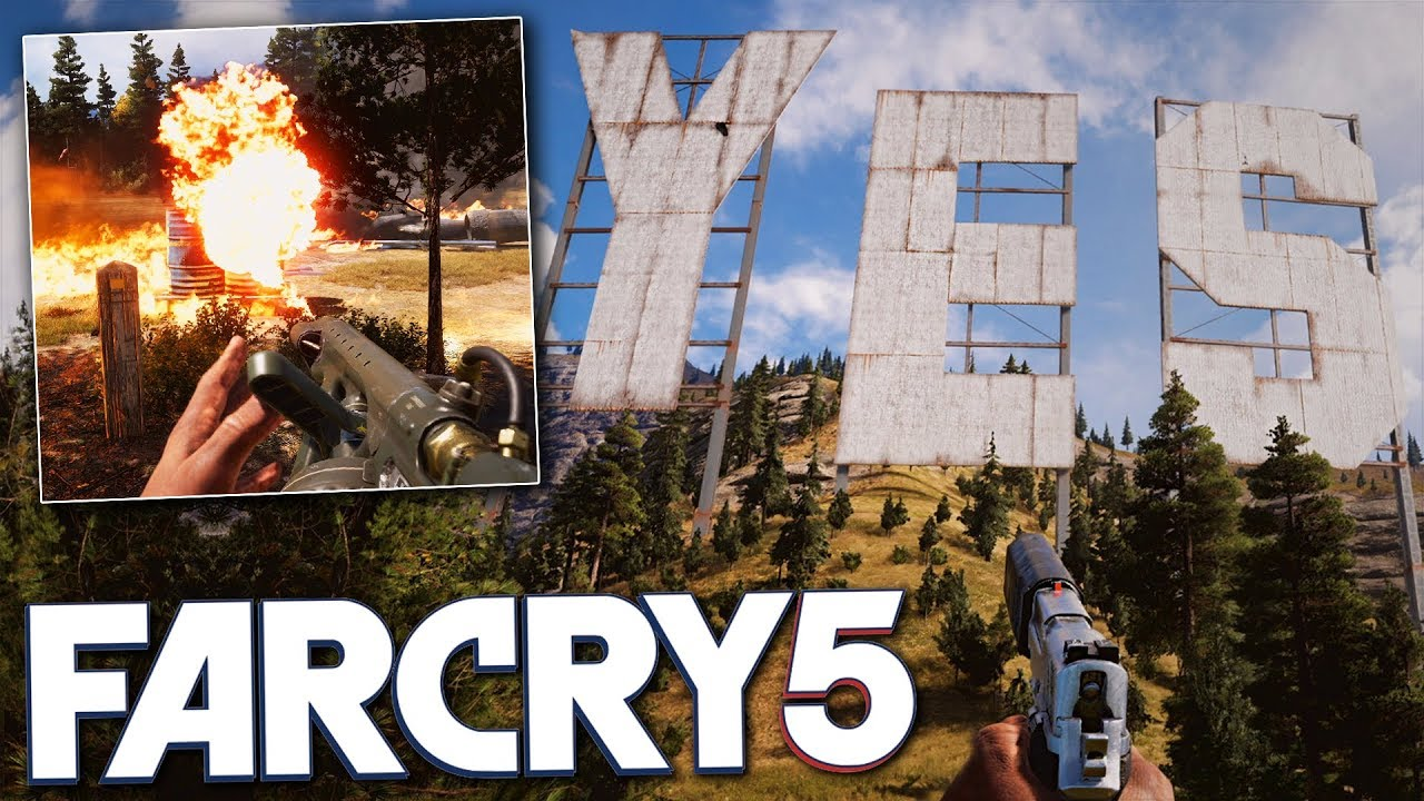 Helicopters Flamethrowers Far Cry 5 Free Roam Gameplay Destroying The Yes Sign Youtube