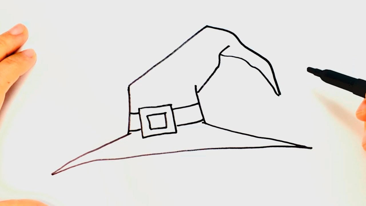 Cmo dibujar un Sombrero de Bruja paso a paso  Dibujo fcil de