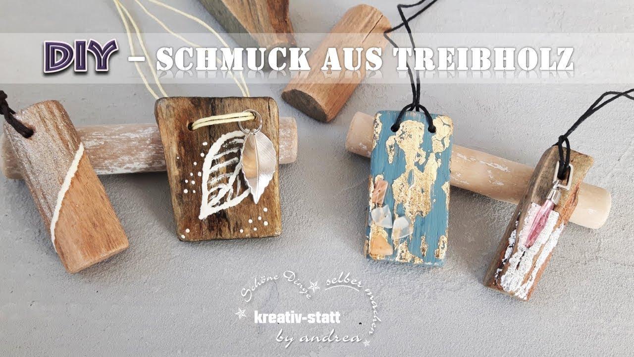 DIY Schmuck - Anhänger aus Treibholz mit Blattmetall ...