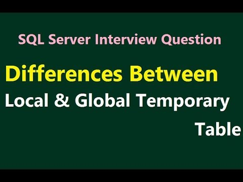 Difference between Local and Global temporary table in SQL Server || SQL  Interview Question