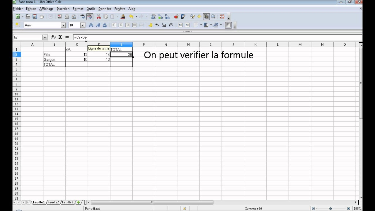 creer un tableau avec des calculs dans libreoffice youtube. Black Bedroom Furniture Sets. Home Design Ideas