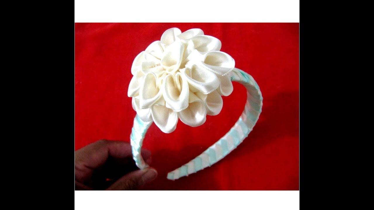 Flores dalias pom pom en diademas trenzadas en cintas para - Material para hacer diademas ...
