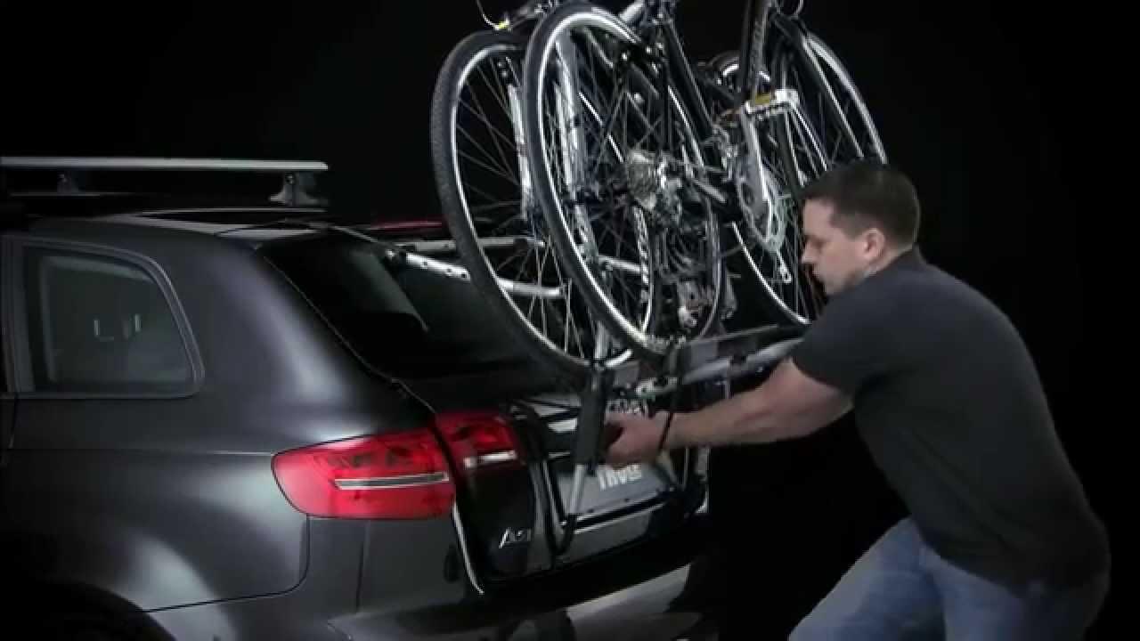 bike carrier rear thule clip on high 9105 9106 youtube. Black Bedroom Furniture Sets. Home Design Ideas