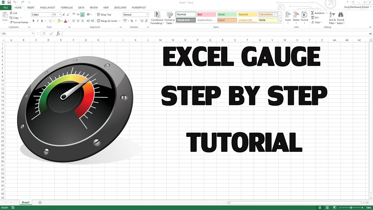 How to create excel kpi dashboard with gauge control youtube for Excel speedometer template download