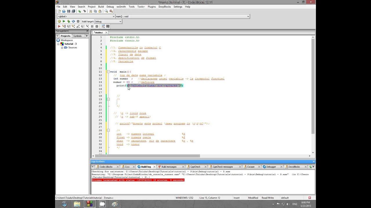 Tutorial de programare in limbajul C HD (limba romana): Variabile [#3]