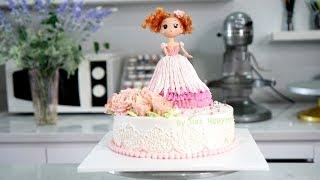 Trang trí bánh sinh nhật búp bê barbie cách điệu xinh xắn