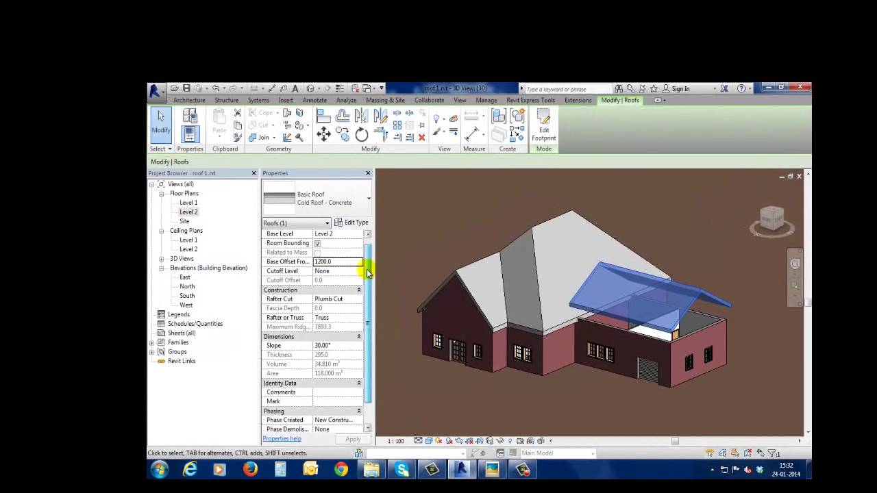 Creating Complex Roofs In Revit 2014 Youtube