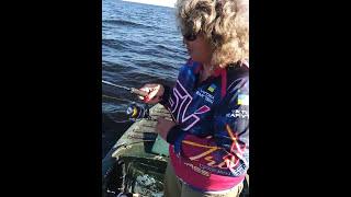 Сом на джиг. Женщина на рыбалке.