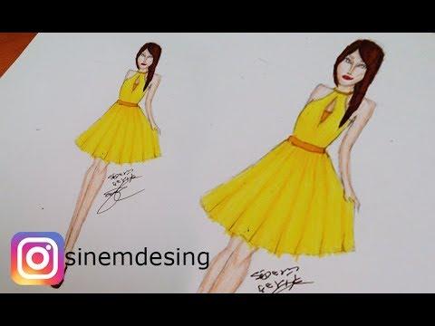 79776f07f91d3 Sinem Moda - Sarı Elbise Çizimi - YouTube