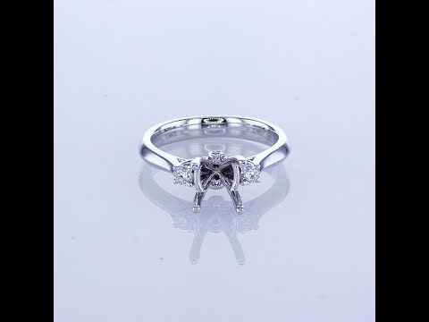0 16CT 18KT WHITE GOLD DIAMOND ENGAGEMENT RING SETTING WITH TWO SIDE DIAMONDS 016393