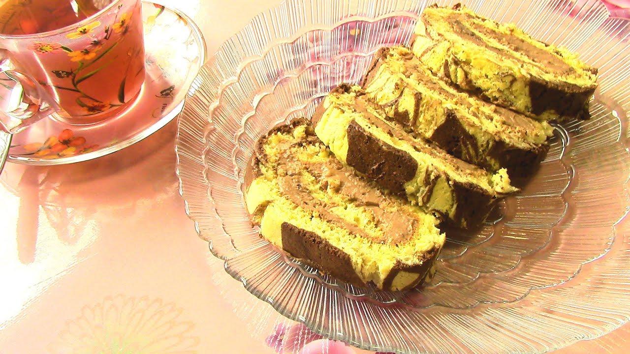 мраморный рулет с шоколадно-банановым кремом с фото