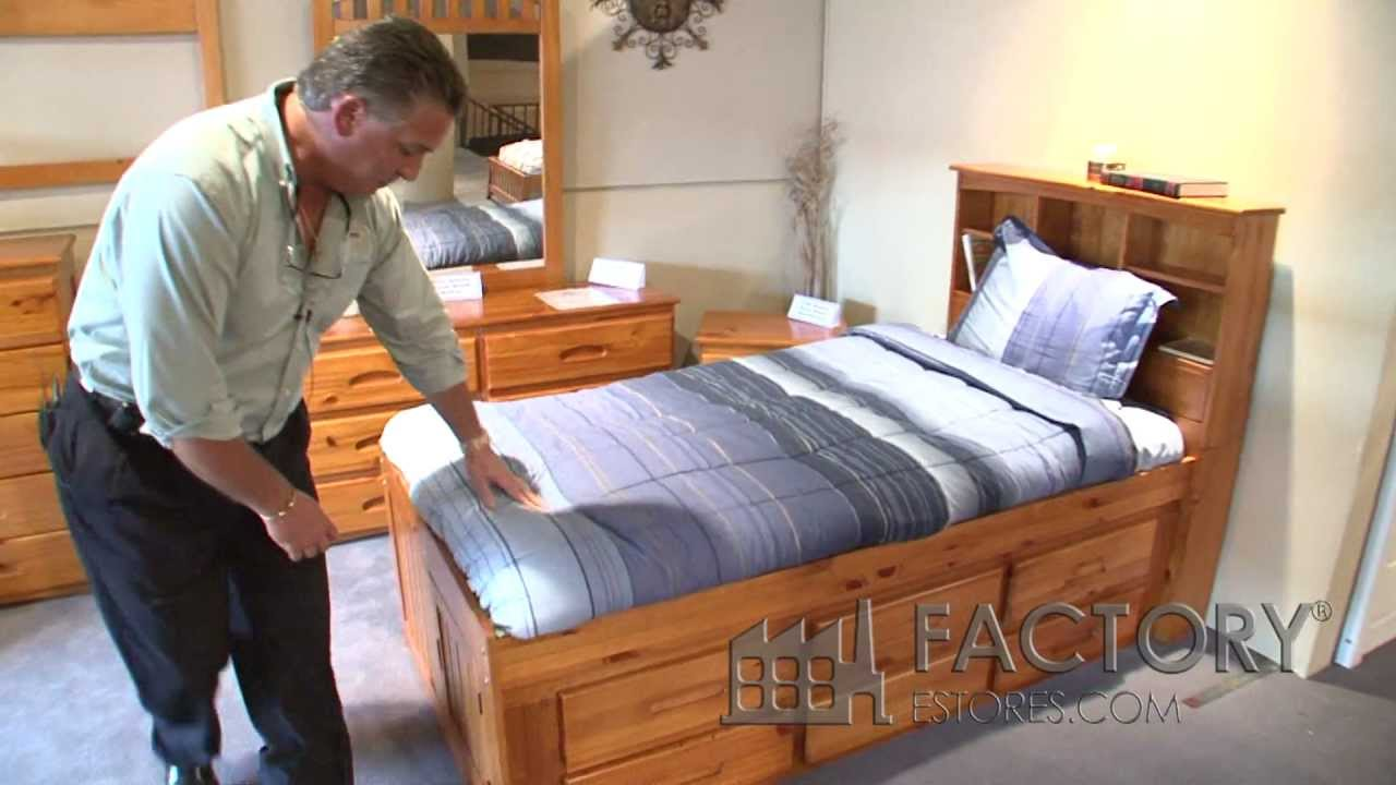 Captains Bed with Bookcase  Factorybunkbedscom  YouTube