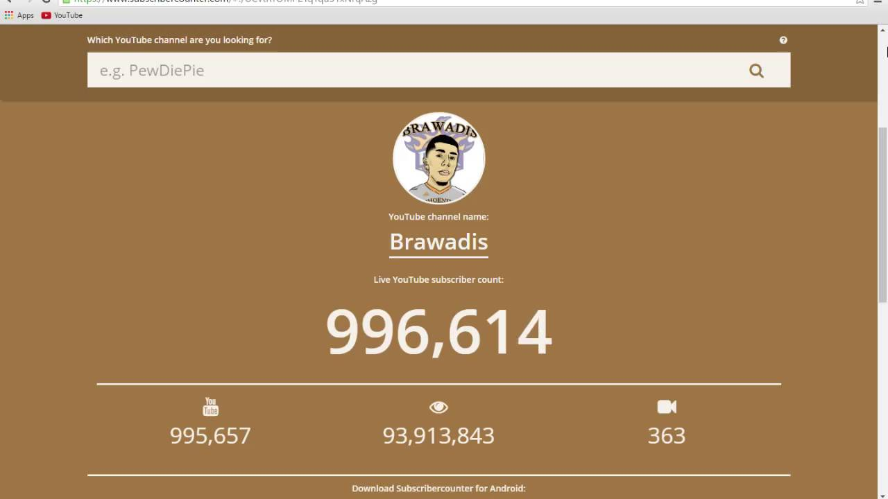 Brawadis Subscriber Count 1 Hour! - YouTube