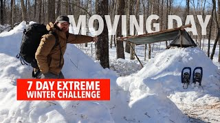 7 Day Winter Challenge | DAY 4 | Moving into my Permanent Bushcraft Shelter