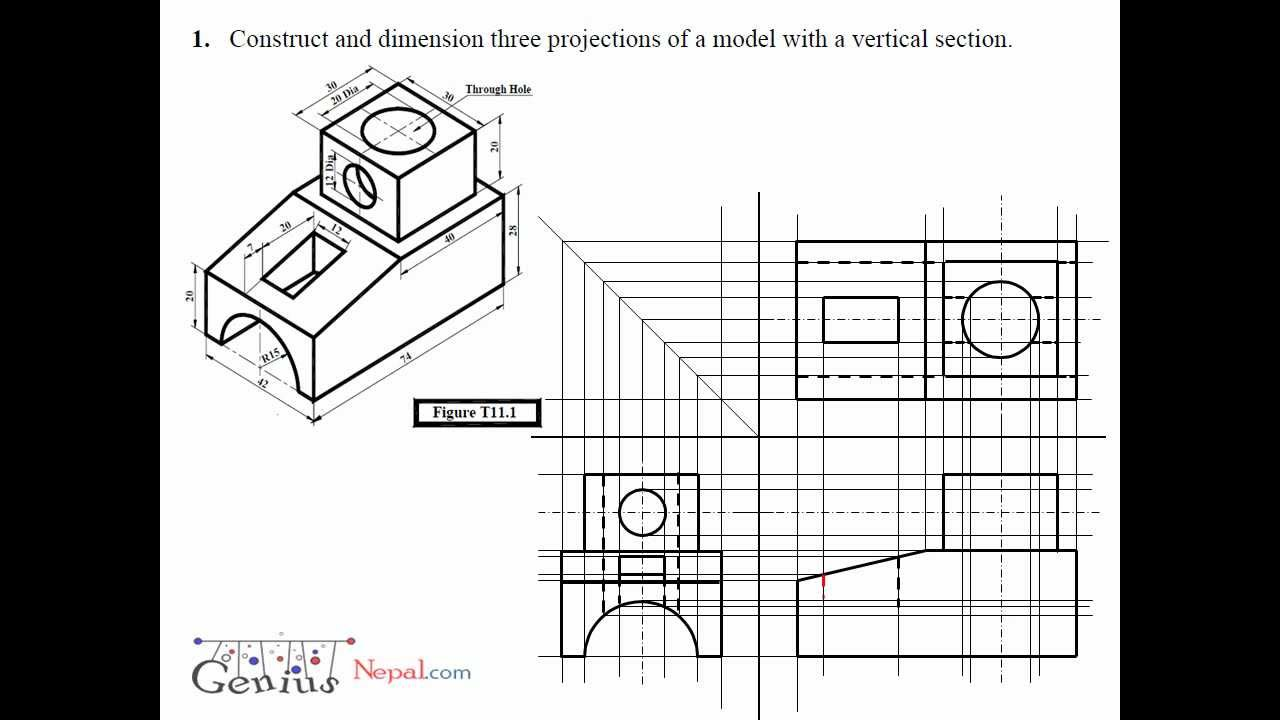 Engineering Drawing Tutorials / Orthographic Drawing with