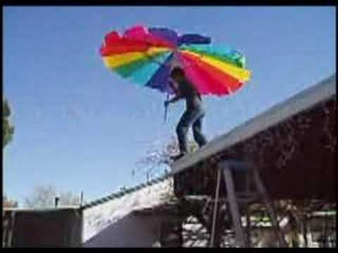 Jumping Off A Roof With An Umbrella Youtube