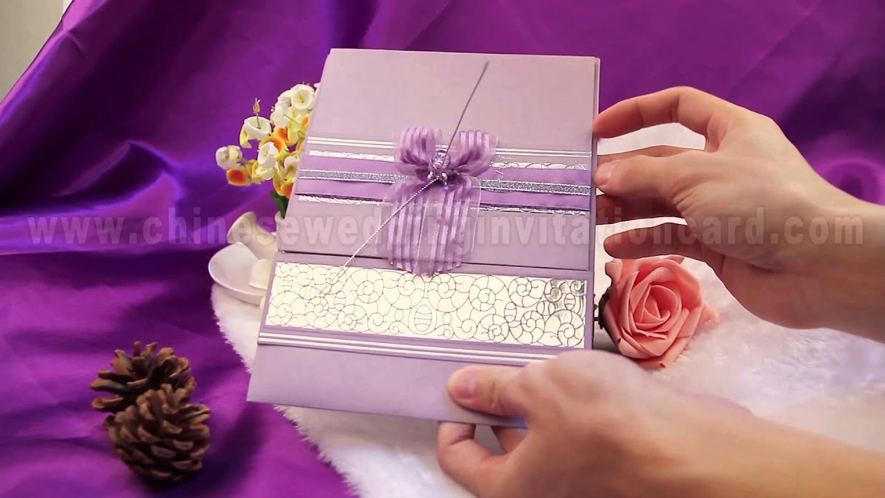 Romantic Purple wedding invitation card design with purple ribbon ...