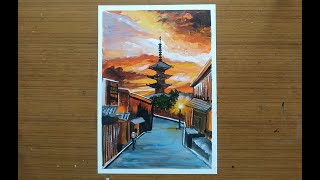 Kyoto Sunset Painting with Acrylics | Perspective Cityscape Painting Demo