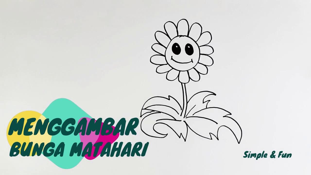 Cara Menggambar Dan Mewarnai Bunga Matahari Youtube