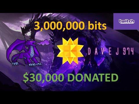 $30,000 Donated on Twitch | 3,000,000 Bits | davej974