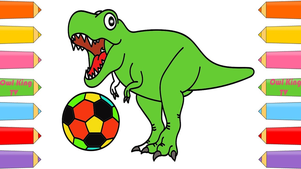 How to Draw Dinosaur, Soccer Ball | Coloring Pages | Art Color with ...
