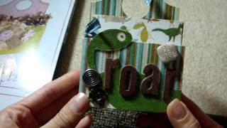 Teenie Weenie Dinosaur Boy Mini Scrapbook Album In A Caddy (sizzix Xl Die)