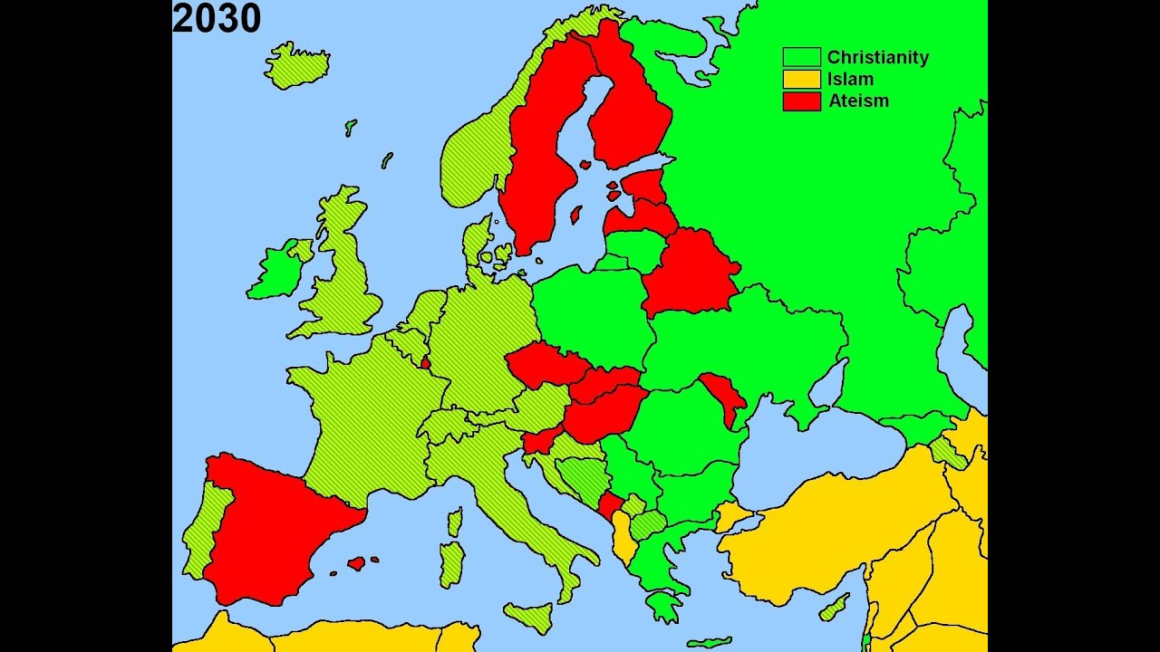 Future Religion In Europe YouTube - World map showing religion