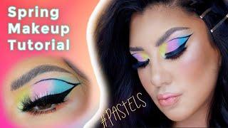 Makeup tutorial in ENGLISH 🌈🌸🌻💙 Tutorial de primavera en Ingles   auroramakeup