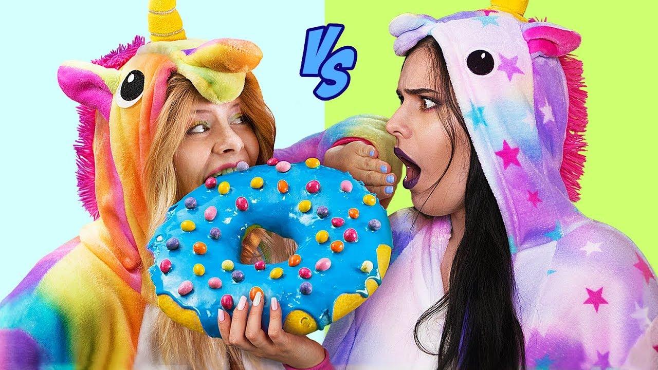 9 Kendin Yap Tarzı İyi Unicorn Şeker – Kötü Unicorn Şekere Karşı / Dev Şeker ve Minyatür Şeker