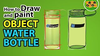 How to draw and paint WATER BOTTLE   STEP BY STEP    TADA-DADA Art Club