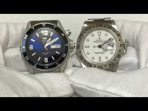 Orient blue mako vs rolex explorer 2 youtube for Portent vs mako