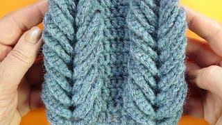 Супер узор для снуда   Объемная коса крючком Crochet stitch  118