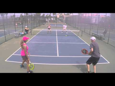 Mixed Doubles Pop Tennis Set with Orange (Soft) Ball - Matt and Dora vs. Roberto and Jenn S.
