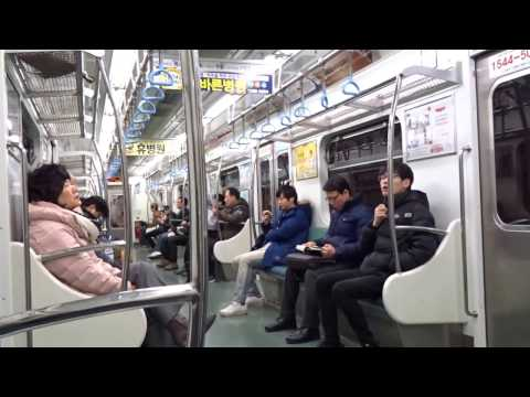 Ride on the subway in Busan, South Korea