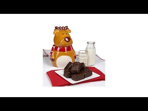 David's Cookies Reindeer Jar w/12oz Chocolate Enrobed Br...