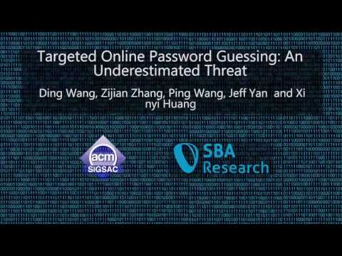 CCS 2016 - Targeted Online Password Guessing: An Underestimated Threat