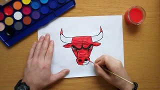 How to draw the Chicago Bulls logo - NBA (Drawing famous logos)