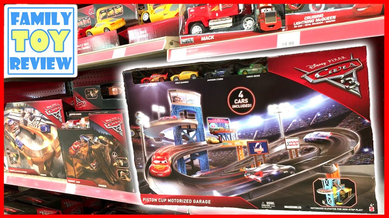new cars 3 toys piston cup motorized garage playset first look at disney cars 3 toy hunting. Black Bedroom Furniture Sets. Home Design Ideas