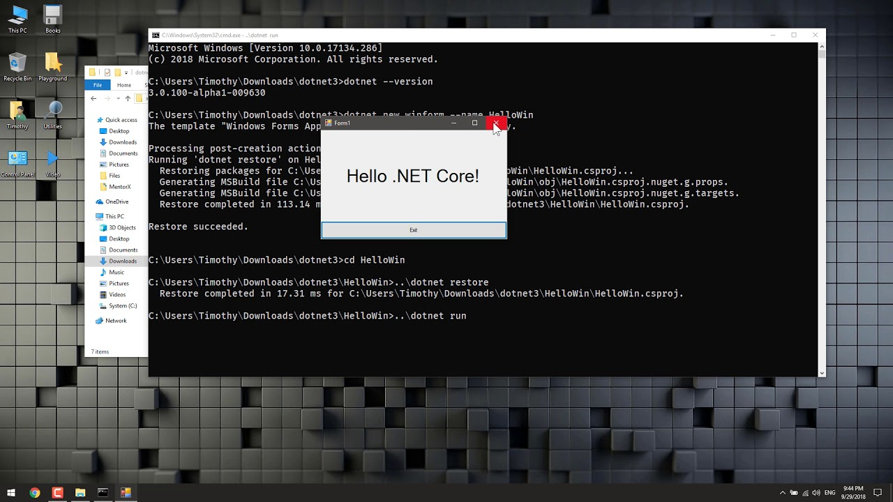 Create Windows Forms (WinForm) Application using .NET Core
