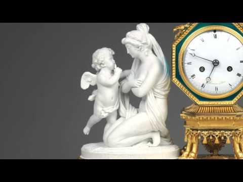 A Louis XVI Ormolu and Biscuit Porcelaine Mantel Clock by Manière