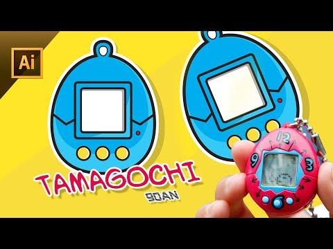 Adobe Illustrator Tutorial : membuat mainan tahun 90an tamagochi thumbnail
